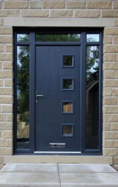 Milano composite door in Grey with top light and side panels in one frame.