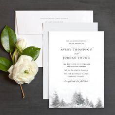 Snowy Trees Wedding Invitations by Emily Crawford | Elli