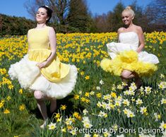 Luxury Yellow & Ivory Petticoats by Doris Designs - Springtime 50 Fashion, Vintage Fashion, How To Make Clothes, Making Clothes, Petticoats, Full Skirts, Super Cute Dresses, Vintage Lingerie, Yellow Dress