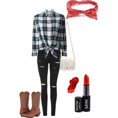 Untitled #272 by kassia3-932 on Polyvore featuring Equipment, Topshop, Ariat, Proenza Schouler, NYX, red, cowboy and plaid