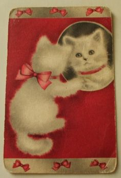 Vintage Swap/Playing/Trading/Card/blank back.*Kitten/Pink(1) card