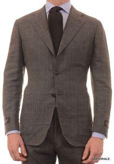 BELVEST Hand Made Gray Plaid Wool-Linen-Silk Suit EU 50 NEW US 38 40 R8 Slim Fit
