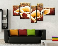 Lily Flowers Oil Painting Handmade Wall Pictures For Living Room Multi Conbination Pictures Oil Painting
