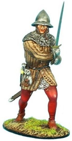 Medieval Knights & Saracens MED014 French Man at Arms #1 - Made by First Legion Military Miniatures and Models. Factory made, hand assembled, painted and boxed in a padded decorative box. Excellent gift for the enthusiast.