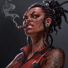 Afrofuturism Art And Cyberpunk Art Black Love, Black Girl Art, Art Girl, Black Girls, Pocket Watch Tattoos, African American Art, African Art, Character Portraits, Character Art