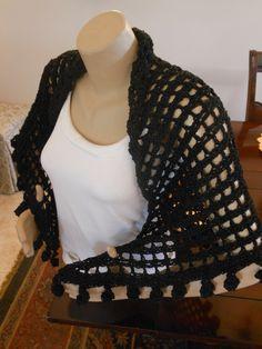 Hand crocheted Shawl - Annalise in black