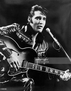 Rock and roll musician Elvis Presley performing on the Elvis comeback TV special on June 27, 1968.