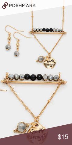 """Gentle strength"" pendant necklace [grandavenue: 294934]   • Necklace Size : 17"" + 3"" L • Decor Size : 1.75"" L • Earrings Size : 1.25"" L • ""Gentle strength"" metal disc pendant & beaded bar necklace Jewelry Necklaces"