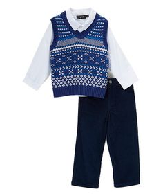 $9.99 This Navy & White Sweater Vest Set - Infant & Toddler is perfect! #zulilyfinds