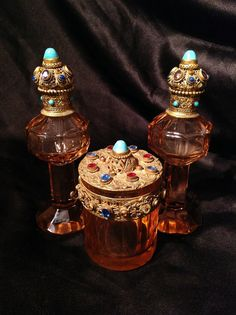 Rare 1920s Czech Pink Glass Vanity Set Perfume Bottles and Powder Jar Art Deco Jeweled Stoppers and Lid Ornate Gold Tone Filigree Features