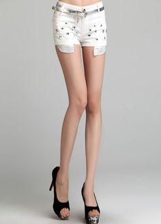 White Rivet Cotton Short  $31.52 Cotton Shorts, Sexy, Women, Woman