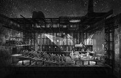 Tempest: a Theater for the Aegean Archipelago - Stenou Aliki & Triantafyllidis Theoklitos Architecture Drawings, Architecture Design, Rendering Drawing, Section Drawing, Elevation Drawing, Stage Design, Atrium, Archipelago, Old Things