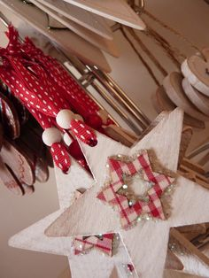Wooden heart Christmas decorations by Zingiberi Design