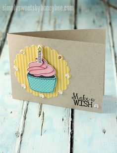 A cupcake birthday card using Avery Elle Cupcakes stamp set.