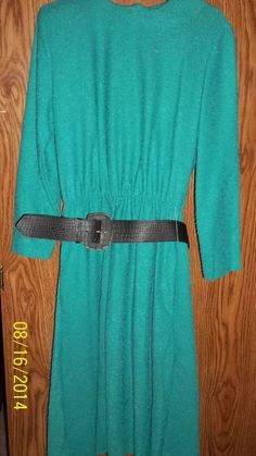 Sz10 P,Teal Green Career Shirt Dress by Lynn Davis 100% Polyester 3/4 Slee       #LynnDavis #ShirtDress #WeartoWork