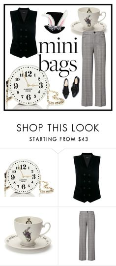 """white rabbit."" by tothineownselfbtrue ❤ liked on Polyvore featuring Kate Spade, Giorgio Armani, Mrs Moore, Disney, minibags and lastminutecostume"