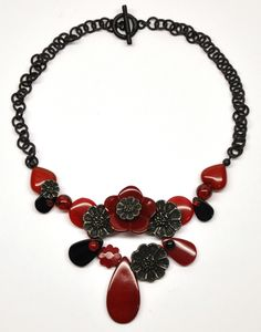 red Bakelite necklace