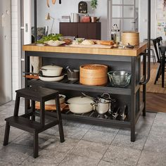 Always wind up in the kitchen at parties? Make sure yours is a place youll want to be. A VADHOLMA kitchen island with a step stool opens Ikea Island, Narrow Kitchen Island, Country Kitchen Island, Stools For Kitchen Island, Ikea Kitchen, Kitchen Dining, Kitchen Decor, Leather Dining Room Chairs, Apartment Kitchen