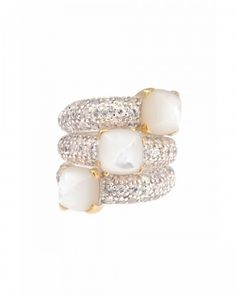 Kara Ross Triple Stack Small Sugarloaf Ring, Sterling Silver With 18K Gold Accent, White Mother Of Pearl And White Sapphire Pave