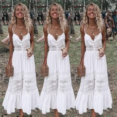 2018 Fashion Women Clothing Summer Lace Dress Female Hollow Out Maxi White Dress Loose Casual Sexy Party Women Dress Plus Size Long White Maxi Dress, Sexy Lace Dress, White Boho Dress, Boho Floral Dress, Lace Summer Dresses, White Dress Summer, Dress With Bow, Beach Dresses, Casual Dresses