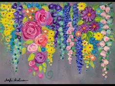 Cotton Swab FLOWERS Acrylic Painting Easy Beginner Step by Step LIVE Tutorial Angela Anderson