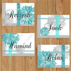 Details about gray white teal bathroom wall art prints decor floral Teal Bathroom Decor, Turquoise Bathroom, New Bathroom Ideas, Bathroom Wall Art, Grey Bathrooms, Hall Bathroom, Bathroom Colors, Bathroom Accessories, Master Bathroom