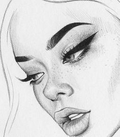 Pin by zoe loeffelholz on sketches in 2019 drawings, pencil drawings, art s Cool Art Drawings, Pencil Art Drawings, Art Drawings Sketches, Drawing Ideas, Drawing Faces, Sketch Art, Drawing Girls, Simple Drawings, Face Sketch