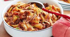 Slow-cooked, pulled beef pasta
