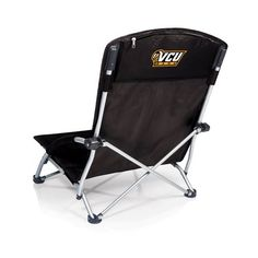 Picnic Time 792-00-175-954-0 Tranquility Chair in Black with Virginia Commonwealth Rams Digital Print