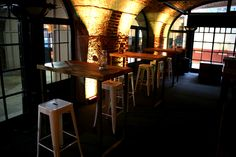 Industrial Stools and Tables with exposed brick walls #Furniture #Ideas #Inspiration #Decor #Design #Reclaimed #Hire #London #TobaccoDock