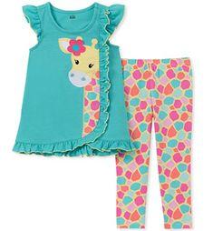 Kids Headquarters Little Girls Giraffe Tunic & Leggings Set - Assorted 6 Tunic Leggings, Dresses With Leggings, Baby Girl Dresses, Baby Dress, Toddler Fashion, Kids Fashion, Fashion Outfits, Kids Headquarters, Kids Wear