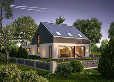 """""""Energetyczny"""" (z wentylacją mechaniczną) Murator EC352 - skromny, nawet nieco ascetyczny w wyglądzie dom z poddaszem użytkowym"""