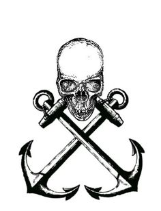 Pirate skull and anchors tattoo Pirate Art, Pirate Skull, Pirate Life, Navy Tattoos, Anchor Tattoos, Bone Tattoos, Tatoos, Pirate Tattoo, Sea Tattoo