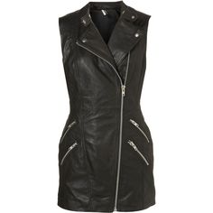Super Long Sleeveless Biker ($300) ❤ liked on Polyvore featuring dresses, vests, jackets, black dress, leather and women