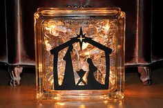 Lighted Glass Block with Christmas Manger Scene   by TipsyGLOWs. LOVE this!!!