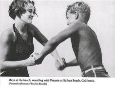 Marlon Brando (11 years old) wrestling with sister Francis Brando Circa 1935. #MarlonBrando