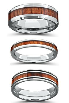 What is there not to love about these wood wedding bands Some are