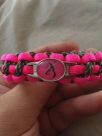 New Pink Camo Browning Paracord Bracelet Handmade Free Shipping