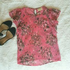 Floral pink blouse New WOMENS PINK SHEER FLOWER CHIFFON TOP SHIRT EXTRA SMALL BLOUSE bobbie and brooks  Tops Blouses