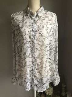 1f8d011be9c9fd A New Day Dalmatian Dog Print Hi Low Sheer White Blouse Size L #ANewDay #