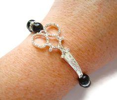 Scissors Bracelet, Shears Bracelet, Hairdresser Jewelry, Hairstylist Bracelet, Rhinestone Shears