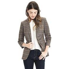 Banana Republic Lightweight Wool Flannel One Button Blazer ($119) ❤ liked on Polyvore featuring outerwear, jackets, blazers, brown glenplaid, lightweight jackets, light weight jacket, wool blazer, banana republic jacket and brown jacket