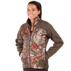 Women's Huntworth Lifestyle Camo Fleece-Lined Soft Shell Hiking Jacket, Size: Medium, Green