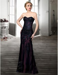 Homecoming Formal Evening Dress Trumpet/Mermaid Sweetheart Floor-length Lace Dress – USD $ 149.99