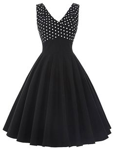 1950s Vintage Style Dotty About Dots Swing Polka Dot Dress
