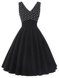 1950s Vintage Style Dotty About Dots Swing Polka Dot Dress