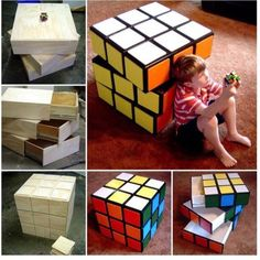 DIY Rubik's Cube Chest Drawers Tutorial. be great in a game room/play roomDIY Rubik's Cube Chest Drawers! Rubik's cube is not just the quintessential hand-held puzzle, though: it's also an iconic piece of design. This project of fantastic Rub