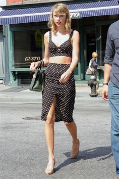 Loving her hair style & length right now plus polka-dots!  Reformation polka dot bralet and pencil-skirt co-ord.