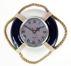 Zegar na ścianę z liną w stylu marine