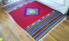 Bright colorful Anatolian ethnic weave WOOL RUG 80 by MoonMossRock